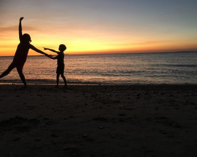 sunset, mum and son, travel, Philippines